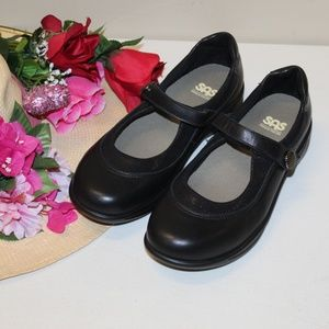 SAS Women Mary Jane Step Out Black Leather 9.5 M